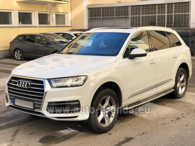 Hire and delivery to Luxembourg Findel Airport the car Audi Q7 50 TDI Quattro White