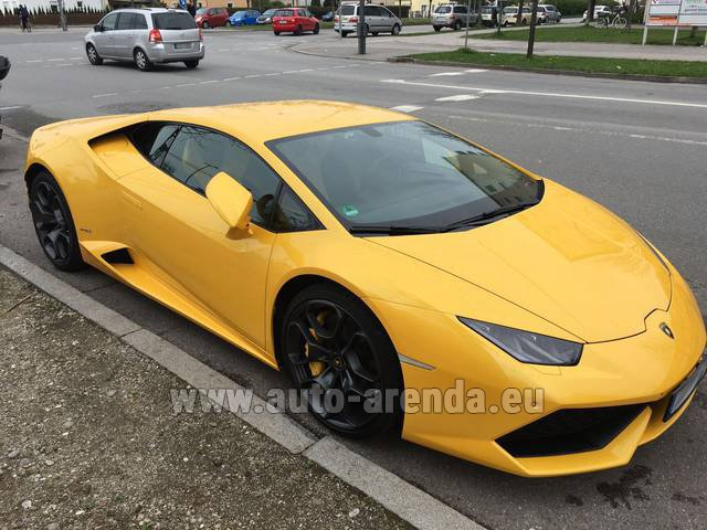 Rental Lamborghini Huracan LP 610-4 Yellow in Luxembourg