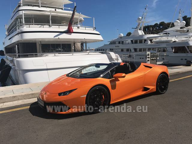 Hire and delivery to Luxembourg Findel Airport the car Lamborghini Huracan Spyder Cabrio