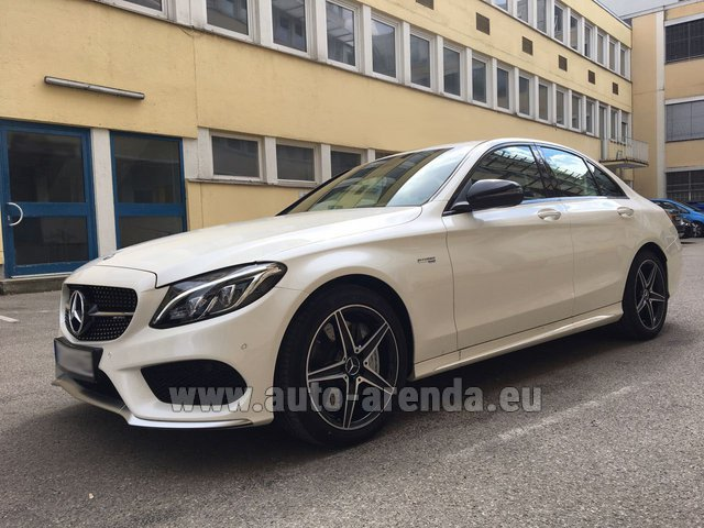 Rental Mercedes-Benz C-Class C43 AMG Biturbo 4MATIC White in Luxembourg City